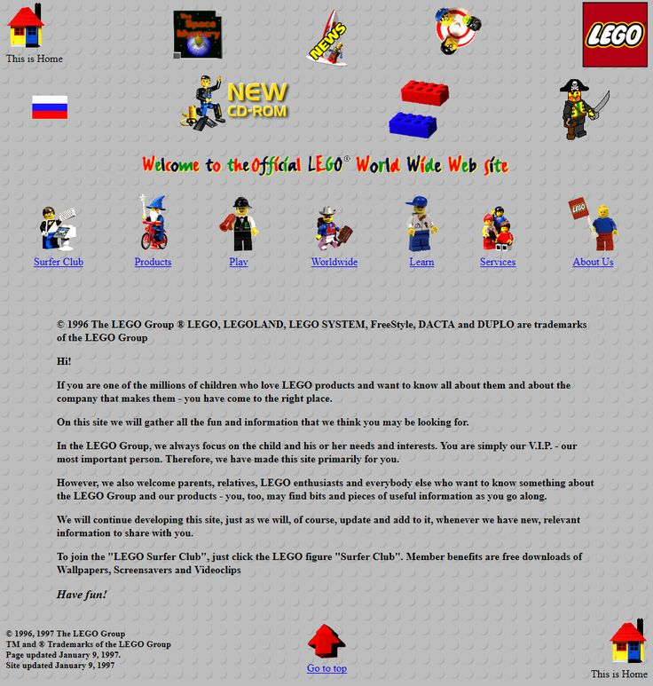 Lego website 1997