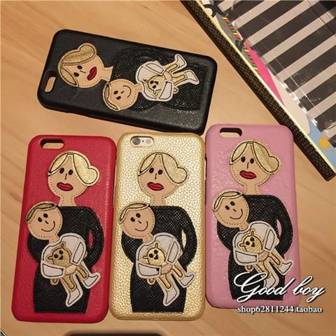 Dolce Gabbanaドルチェ&ガッバーナ iPhone7/6s ケース ママ 子供 お揃いペアケース 革製 薄い アイフォン6s プラスカバー セレブ愛用
