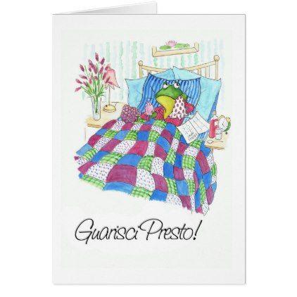 Fun Green Frog Get Well Soon Italian Greeting Card - diy cyo customize create your own #personalize