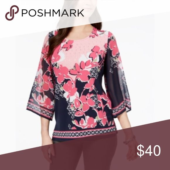 1ae063dda8f108 Jm Collection Floral Print Embellished Top Size: XL Color: Pink Vienna Flat  JM Collection Tops | My Posh Closet in 2019 | Tops, Floral prints, Fashion