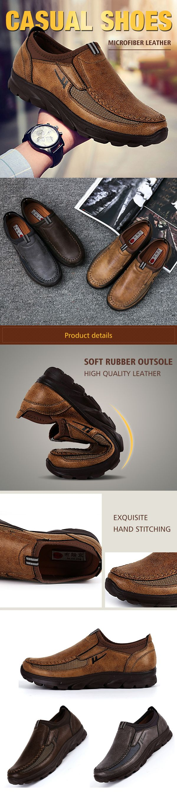 US$31.53 Men Large Size Hand Stitching Microfiber Leather Non-slip Casual Shoes#winter#leather shoes