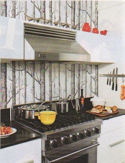in cucina, carta da parati + vernice protettiva