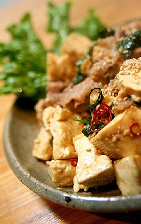 豆腐と豚肉のピリ辛大葉炒め by piyo_piyo 【クックパッド】 簡単おいしいみんなのレシピが278万品