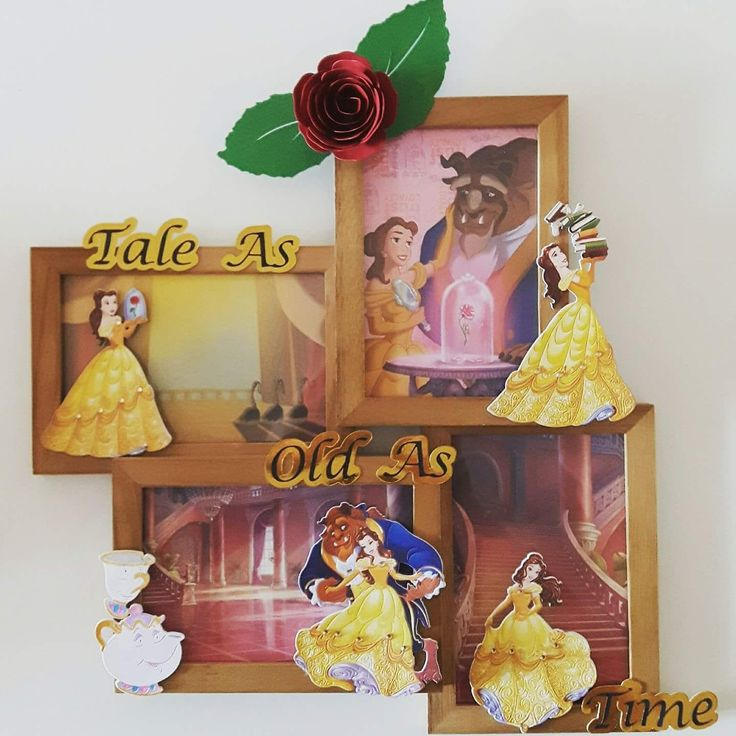 Made by Lauren Clark - This is the first ever home decor item that I made using the Disney belle collection. I used the co-ordinating colour creations and background pads. I cut out the rose and the wording using my silhouette cameo machine and adorned Belles dress with diamontes. I was overjoyed with the result and so was my friend.