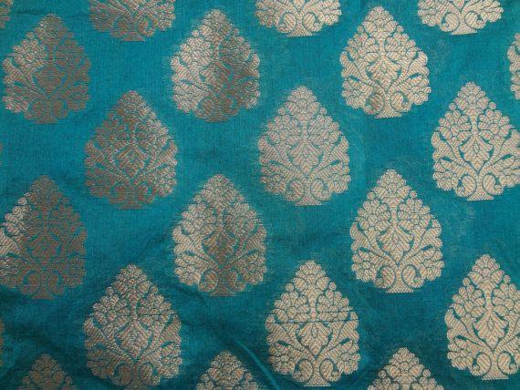Rama Green Silk Brocade Fabric With Golden Motif Fat Quarter India