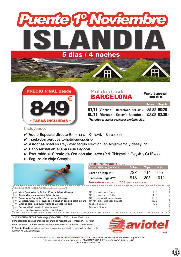 ISLANDIA Puente Noviembre 1-5 nov vuelo directo+traslados+hotel+exc. desde Barcelona por 849 euros - http://zocotours.com/islandia-puente-noviembre-1-5-nov-vuelo-directotrasladoshotelexc-desde-barcelona-por-849-euros/