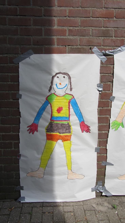 Thema ik: jezelf schilderen tegen een muur.