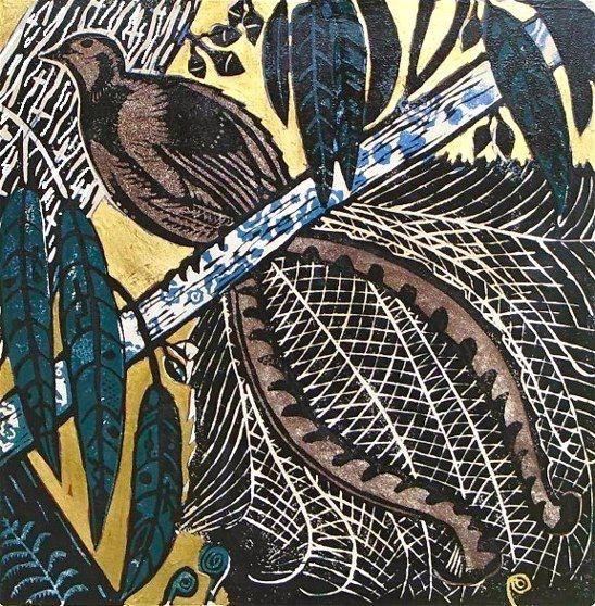 Lyrebird © Multi block Lino/Woodcut  by Abbie Heathcote