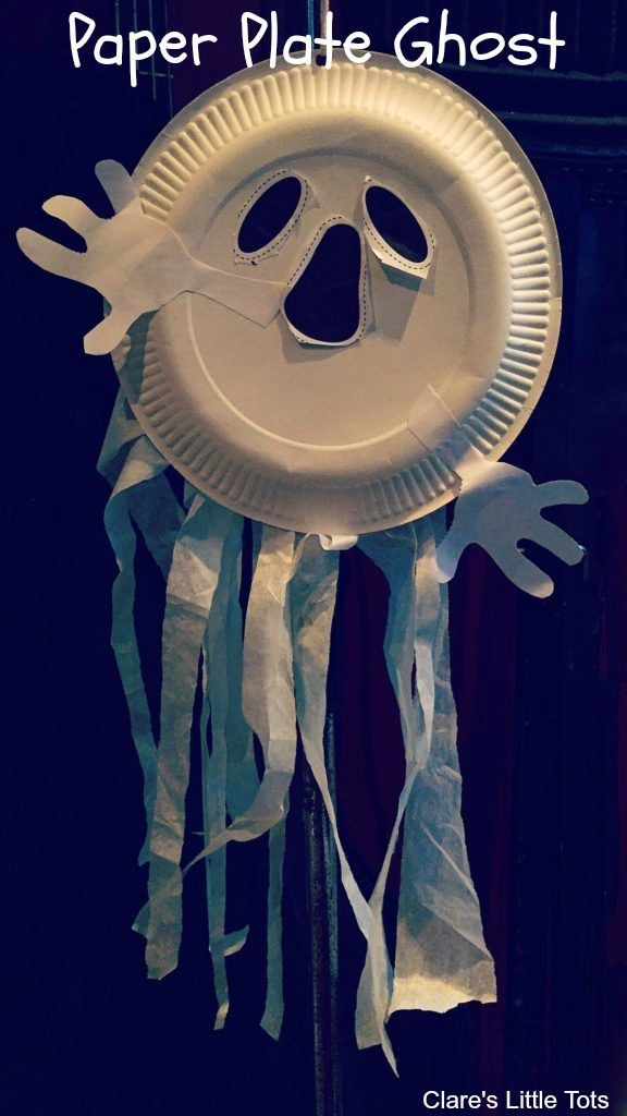 Easy paper plate ghost fun Halloween craft idea for kids.