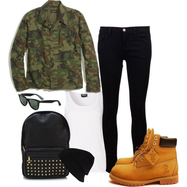 camouflage look, Timberland boots