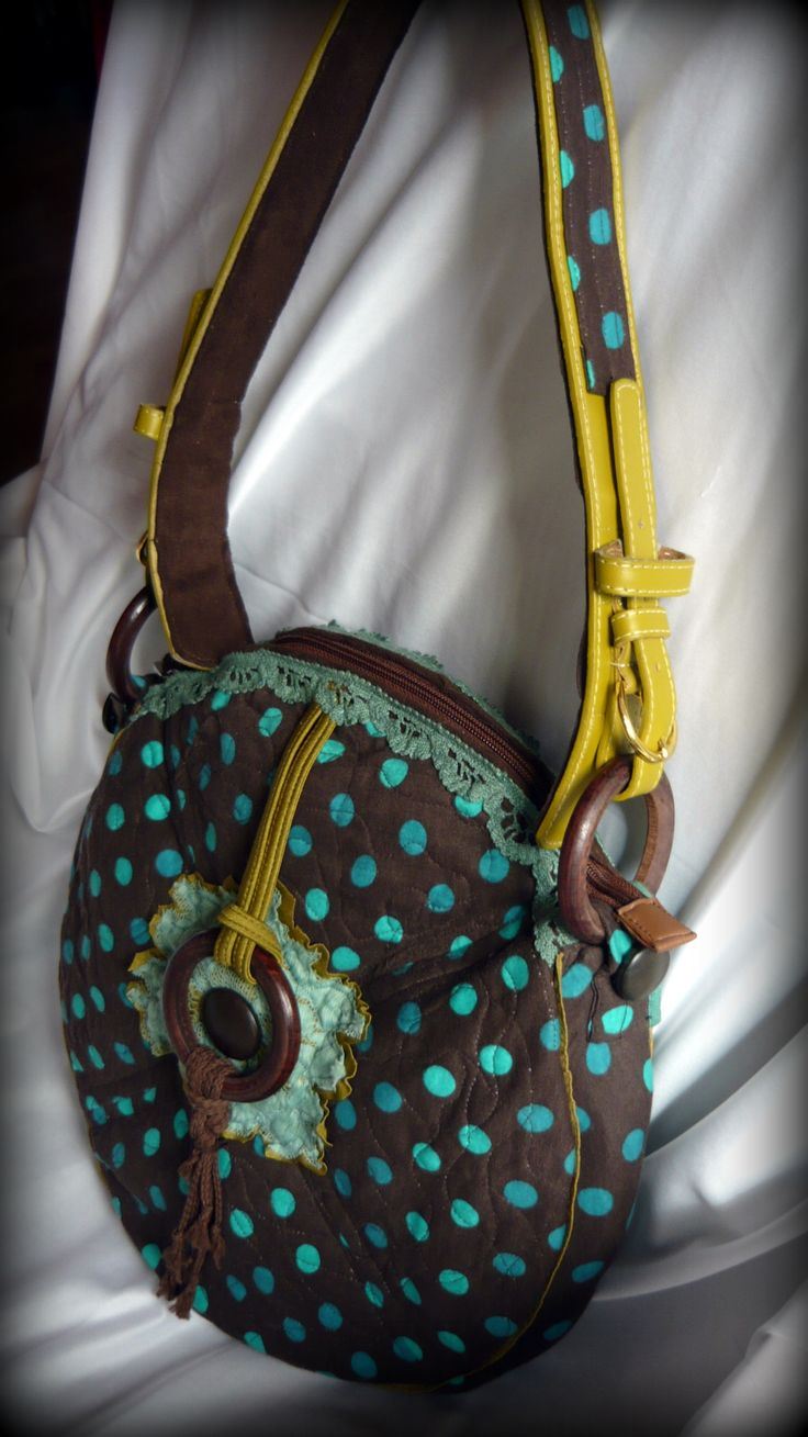 Handmade by Judy Majoros -Brown-turquoise Round polka dots  bag. Leather strap. Recycled bag
