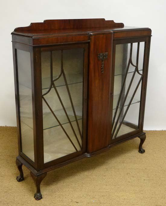 Art Deco Display Cabinet Painted white inside with glass shelves