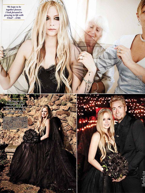 Avril Lavigne and Chad Kroeger Wedding photos-Black Wedding Dress