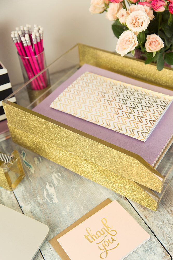 Gold Glitter & Acrylic Letter Tray by AliceAndMarie on Etsy https://www.etsy.com/listing/234618848/gold-glitter-acrylic-letter-tray