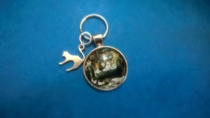 cat keychain, cat lady gift, cat bag charm, animal key ring, cats charm, kitten key ring by EsmeraldaHolly on Etsy