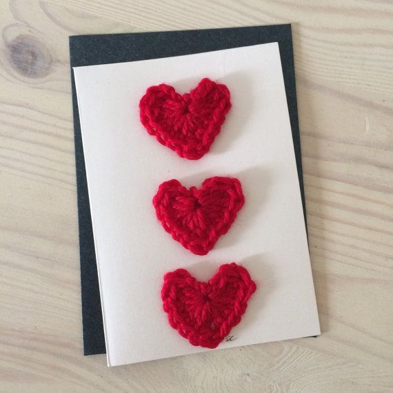 Crochet Hearts Greeting Card Gift Baby Shower by DyeNumber2