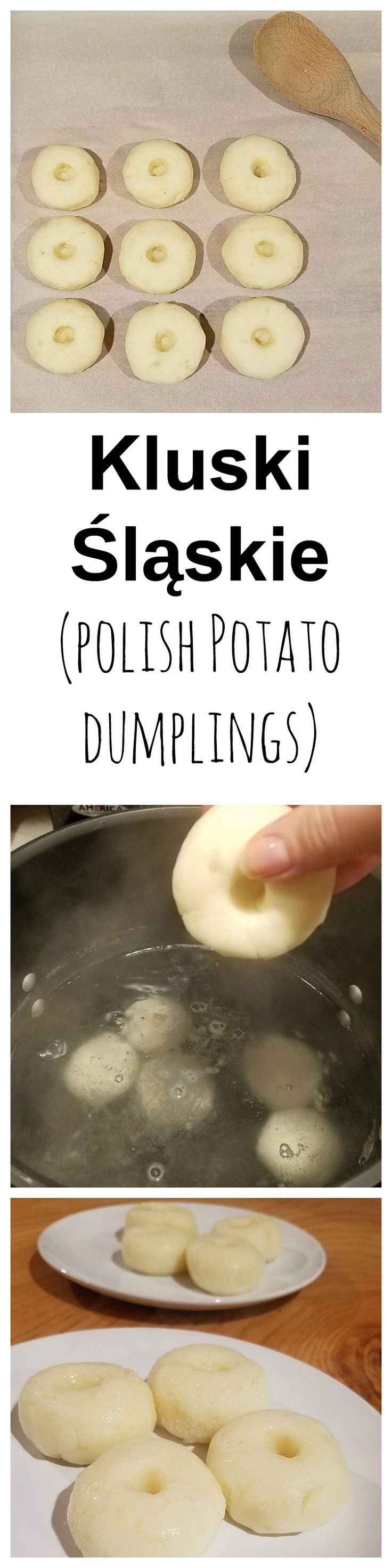 Kluski śląskie are potato dumplings with a little depression in the middle, similar in texture and flavor to Italian gnocchi. They originate from Poland.