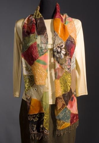 Patchwork Scarf using silk, wool, mesh, lace