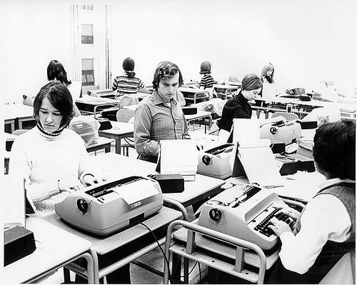 typing class..But we only had 2 electric typewriters! The rest of the class had to use manual typewriters! Try to find one of those!