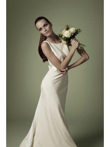 1960s Style Ivory Silk Satin Dress With Boat Neck Wedding NSX01