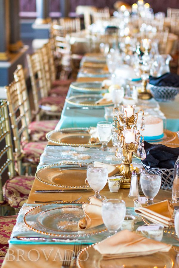 Semple Mansion wedding reception head table with turquoise and gold linens from Midway Party Rental.