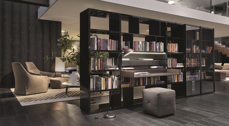 Poliform|Varenna _ Wall System Bookshelf and Onda pouf.