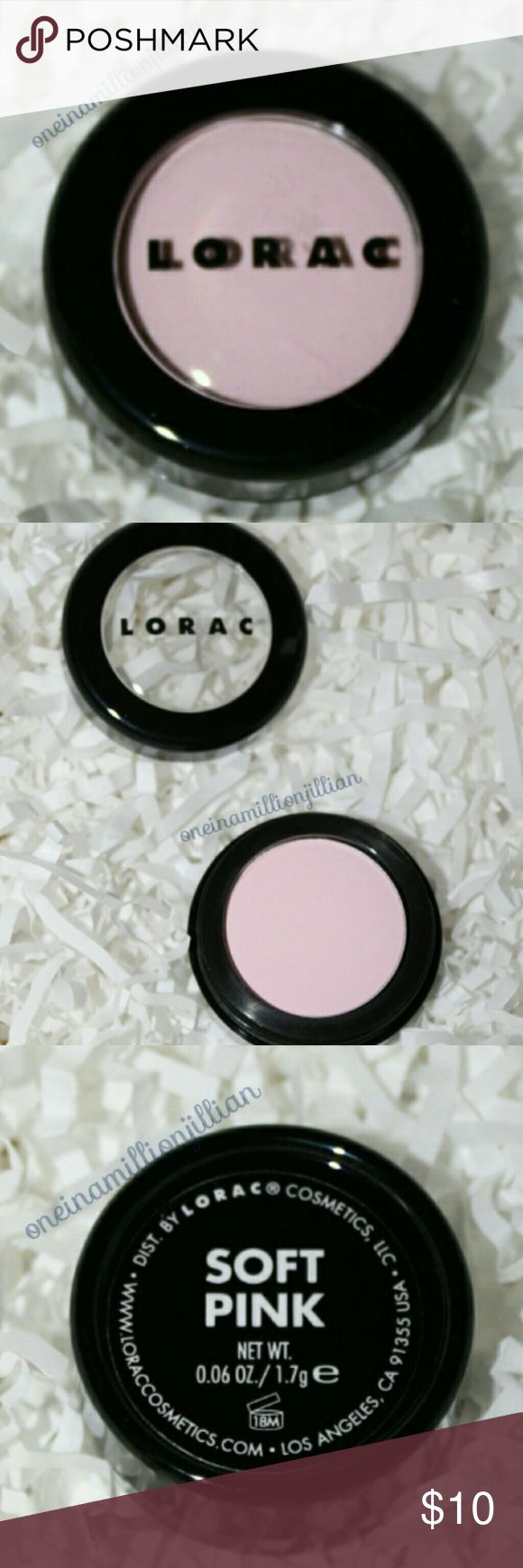 Lorac Eyeshadow Single - Soft Pink LE & DISCONTINUED  New - Never Used (Swatches from Google)  Full Sz & Authentic  Color: Soft Pink (matte baby pink)  Celebrity Makeup Artist Carol Shaw created LORAC's unique, long-lasting, non-irritating PRO eye shadow formula to use on & off the Red Carpet. This unique formula is infused with soothing botanicals such as Calendula & Cornflower. Shade, shadow, line & define.  - Silky-smooth, Highly-pigmented & Long-lasting - Eye shadow colors can be used…