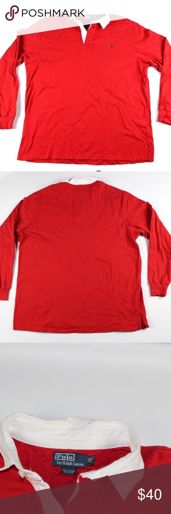 Polo Ralph Lauren Long Sleeve Rugby Shirt 2XL Tall Polo by Ralph Lauren Long Sleeve Rugby Shirt  Excellent shirt for a day out  Comes from a smoke-free household  The size is 2XL Tall and the measurements are 27 inches underarm to underarm and 33 inches shoulder to base  Red with a Blue Pony logo  Cotton  Check out my other items for sale!  L3 Polo by Ralph Lauren Shirts Polos