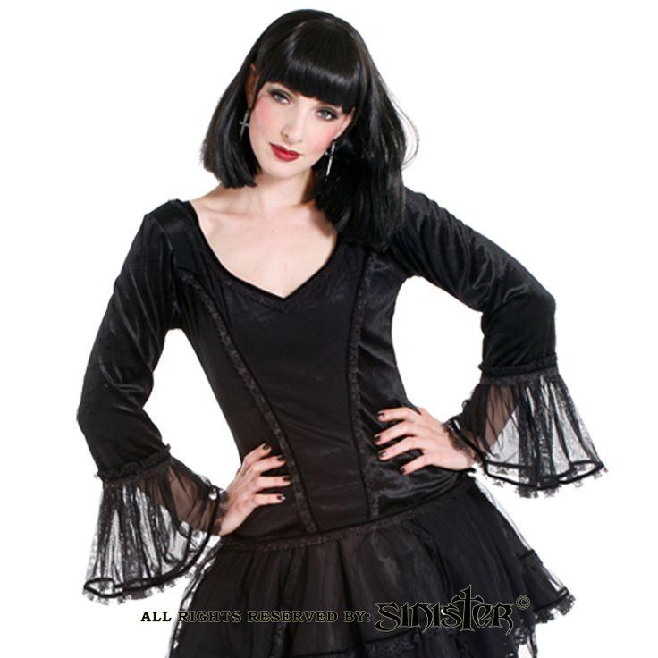 Gothic black velvet and mesh top by Sinister (Top 676) www.sinister.nl