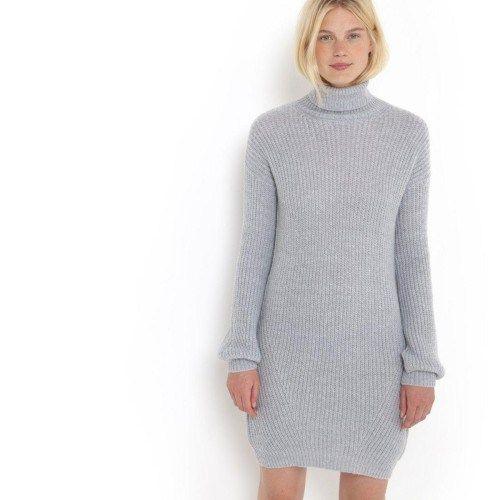 Γκρι πλεκτό μινι φόρεμα με ζιβάγκο