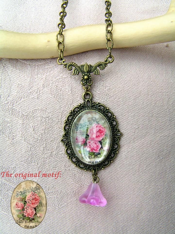 Roses  --    A few weeks ago I read a beautiful poem on the Poet.hu website and I couldn't forget it even days later. I think this poem inspired me to make this lovely, vintage style necklace.