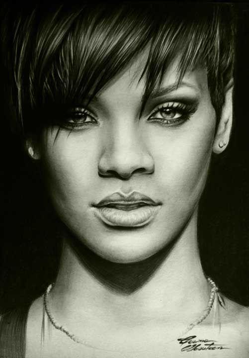 Rihanna - Desen în Creion de Corina Olosutean // Rihanna - Pencil Drawing by Corina Olosutean