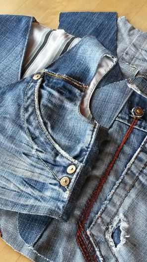 Using blue jeans for vests. Great inspiration pin.