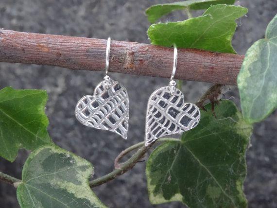 Silver Drop earrings  textured hearts   by SilverWindsJewellery