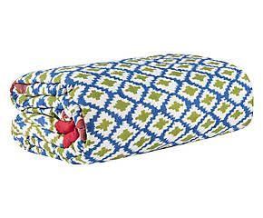 Quilt in mussola di cotone Hima blu/verde - 220x270 cm