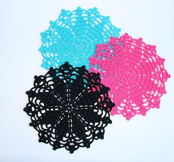 Crochet Coasters Small Round Doilies Placemats Hot Pink Etsy Crochet Coasters Lace Doilies Crochet Doilies