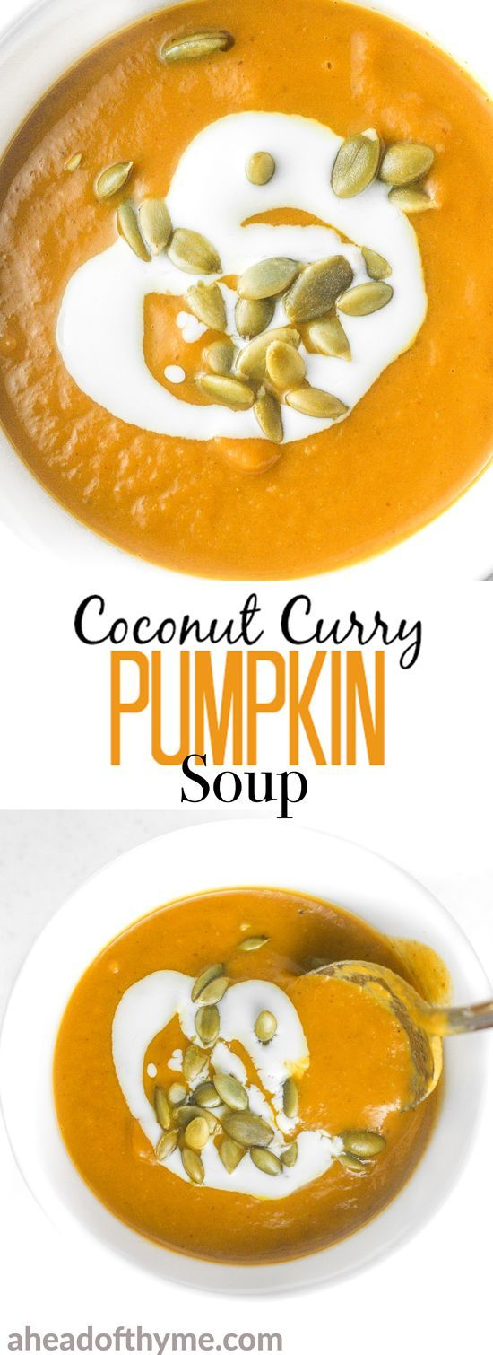 Coconut curry pumpkin soup is a bowl of comfort with a kick. This soup comes together in less than 30 minutes using a handful of ingredients! | aheadofthyme.com via @aheadofthyme