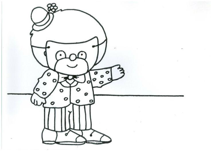 Verhaal Ferre is clown Prent 5: Nu moet hij nog het clownspak aantrekken. Eerst de gestreepte broek, dan de jas en als laatste een mooie roze strik. Nu is Ferre een echte clown geworden!