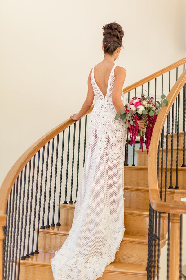 A Modern Botanical Garden Wedding; gorgeous wedding dress available at Soliloquy Bridal Couture. Its name is Twiggy a Francesca Miranda design!