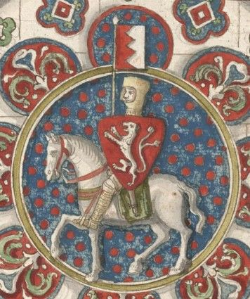 Simon de Montfort, in a drawing of a stained glass window found at Chartres Cathedral.