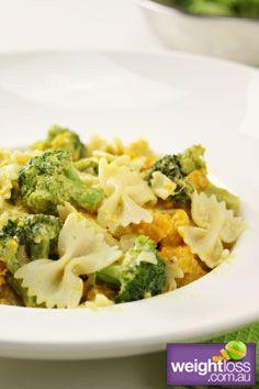 Low Fat Recipes: Broccoli & Pumpkin Pasta. #HealthyRecipes #DietRecipes #WeightlossRecipes weightloss.com.au