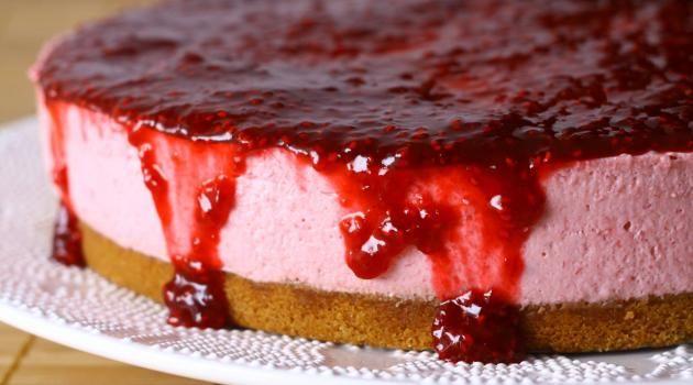 Tarta de Queso y Frambuesa postre dulce