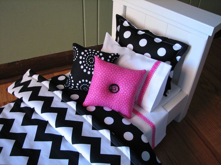 "@Stacy MitchL    Just think these bedding sets are adorable!!   measure Brooke's beds!!  Chevron Bedding Set for American Girl Doll or similar 18"" dolls - Black/White/Hot Pink. $27.00, via Etsy."