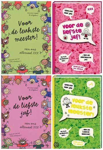 Vriendenboekje Juf & Meester. In de trant van een vriendenboek, maar dan voor alle leerlingen van de klas. De leerlingen kunnen een blijvende herinnering schrijven,tekenen, en plakken voor de liefste juf/leukste meester van groep ....!