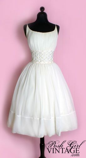 White tea length princess style party or wedding dress...Audrey Hepburn style!