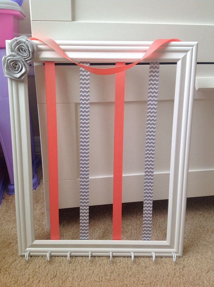 Accessories Organizer Picture Frame - White, Coral, Chevron Gray, Rosettes, Hooks (Hair Bow and Headband Holder) Baby Girl, Girl, Teen Room Wall Decor (Organizador de Accesorios del Cabello / Pelo para Niña) by Purple Fairy Creations