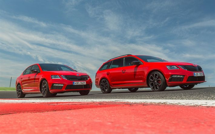 Download wallpapers Skoda Octavia RS 245, 2018, racing track, red sedan, red station wagon, tuning Octavia, czech cars, 4k, Skoda