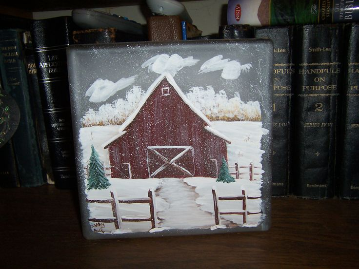 Lighted Glass Block With Hand Painted Barn Snow Scene