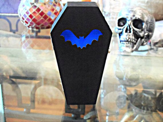 Bat Cut Out Coffin with Blinking Color Changing by GOTHMAIDEN