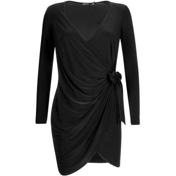 Boohoo Petite Rae Drape Knot Detail Dress ($14) ❤ liked on Polyvore featuring dresses, boohoo dresses, draped cocktail dress, petite cocktail dress, knot dresses and petite dresses